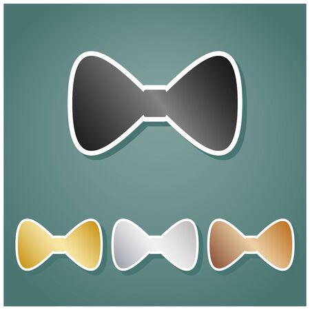 Bow Tie icon. Set of metallic Icons with gray, gold, silver and bronze gradient with white contour and shadow at viridan background. Illustration