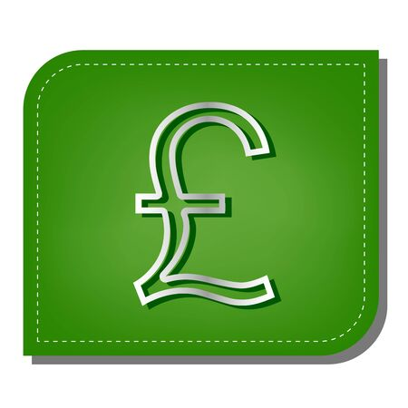 Turkish lira sign. Silver gradient line icon with dark green shadow at ecological patched green leaf. 向量圖像