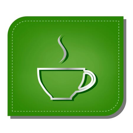 Cup sign with one small stream of smoke. Silver gradient line icon with dark green shadow at ecological patched green leaf.