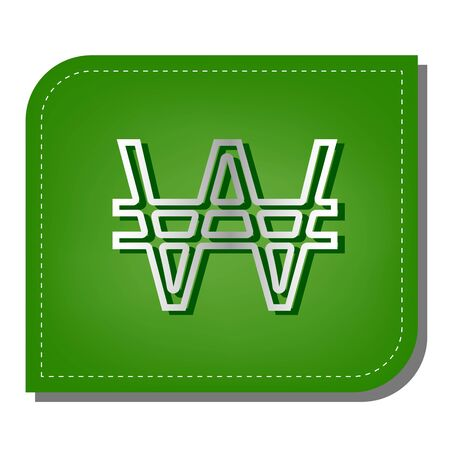 Won sign. Silver gradient line icon with dark green shadow at ecological patched green leaf.
