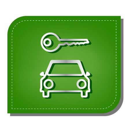 Car key simplistic sign. Silver gradient line icon with dark green shadow at ecological patched green leaf. Illusztráció