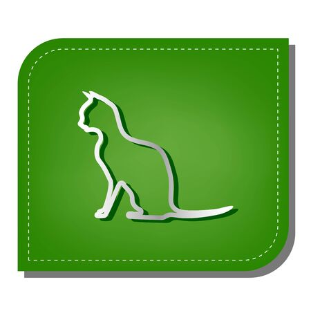 Cat sign. Silver gradient line icon with dark green shadow at ecological patched green leaf.