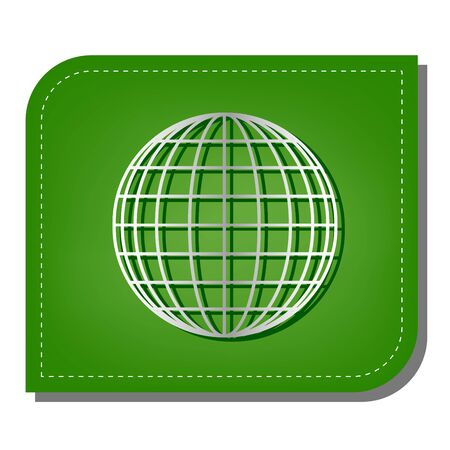 Earth Globe sign. Silver gradient line icon with dark green shadow at ecological patched green leaf.