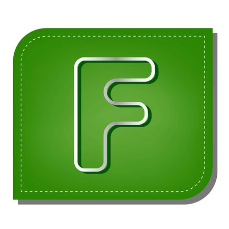 Letter F sign design template element. Silver gradient line icon with dark green shadow at ecological patched green leaf.