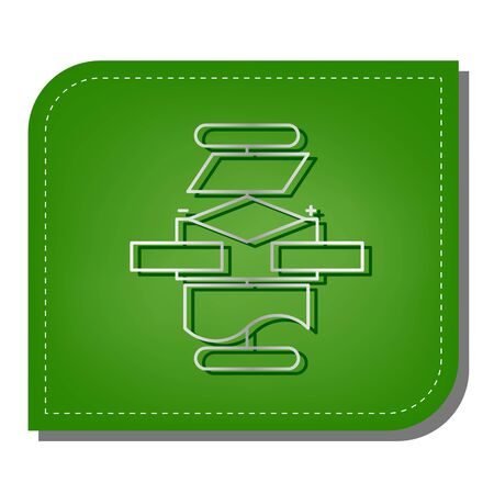 Algorithm sign. Silver gradient line icon with dark green shadow at ecological patched green leaf.