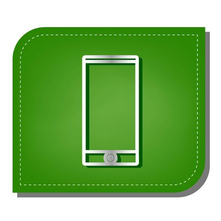 Modern gadget with blank screen. Silver gradient line icon with dark green shadow at ecological patched green leaf.