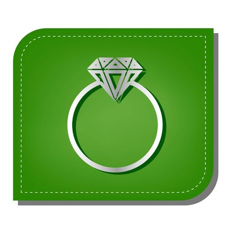Diamond sign illustration. Silver gradient line icon with dark green shadow at ecological patched green leaf.