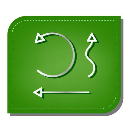 Simple set to Interface Arrows. Silver gradient line icon with dark green shadow at ecological patched green leaf.