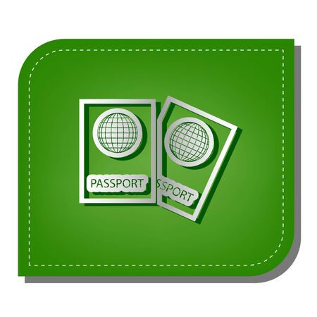 Two passports sign illustration. Silver gradient line icon with dark green shadow at ecological patched green leaf. Foto de archivo - 142448852