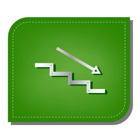 Stair down with arrow. Silver gradient line icon with dark green shadow at ecological patched green leaf.