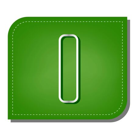 Letter I sign design template element. Silver gradient line icon with dark green shadow at ecological patched green leaf.