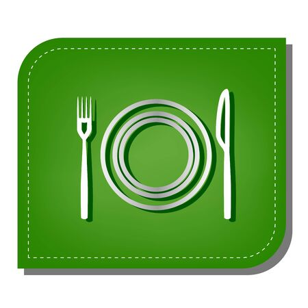 Fork, Knife and Plate sign. Silver gradient line icon with dark green shadow at ecological patched green leaf.