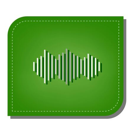 Sound waves icon. Silver gradient line icon with dark green shadow at ecological patched green leaf.