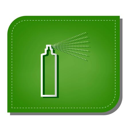 Bottle spray sign. Silver gradient line icon with dark green shadow at ecological patched green leaf.