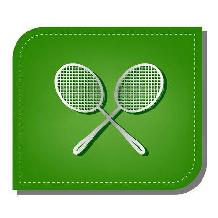 Two tennis racket sign. Silver gradient line icon with dark green shadow at ecological patched green leaf.