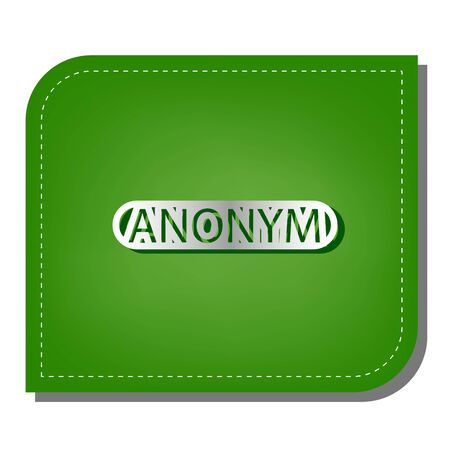 Anonym, Unknown person sign. Silver gradient line icon with dark green shadow at ecological patched green leaf.