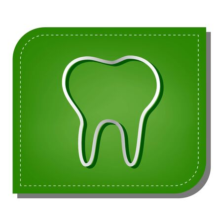 Tooth sign illustration. Silver gradient line icon with dark green shadow at ecological patched green leaf.