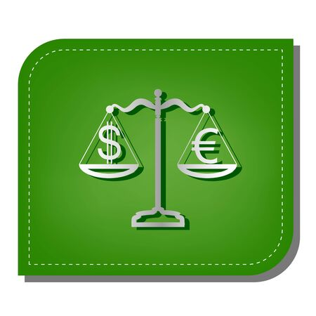 Justice scales with currency exchange sign. Silver gradient line icon with dark green shadow at ecological patched green leaf.