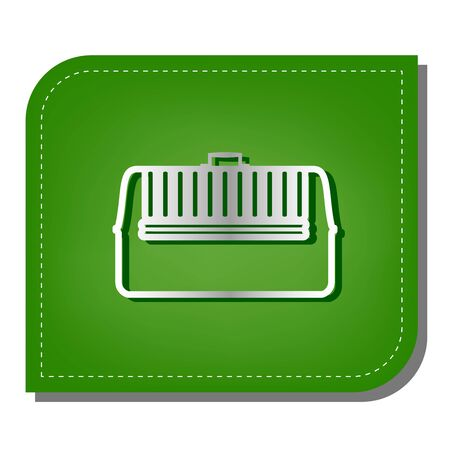 Cat basket sign. Silver gradient line icon with dark green shadow at ecological patched green leaf.