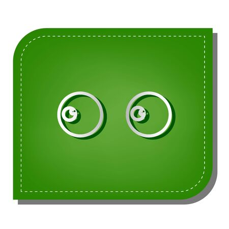 Cartoon eyes. Looking to the left. Silver gradient line icon with dark green shadow at ecological patched green leaf.