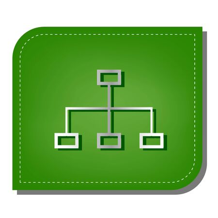 Site map sign. Silver gradient line icon with dark green shadow at ecological patched green leaf. Illustration