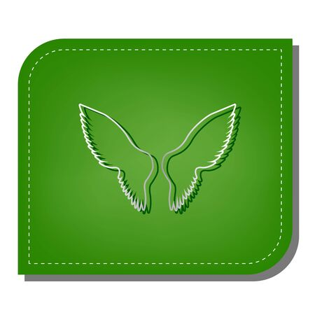 Wings sign illustration. Silver gradient line icon with dark green shadow at ecological patched green leaf.