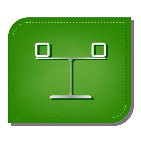 Libra sign. Silver gradient line icon with dark green shadow at ecological patched green leaf.