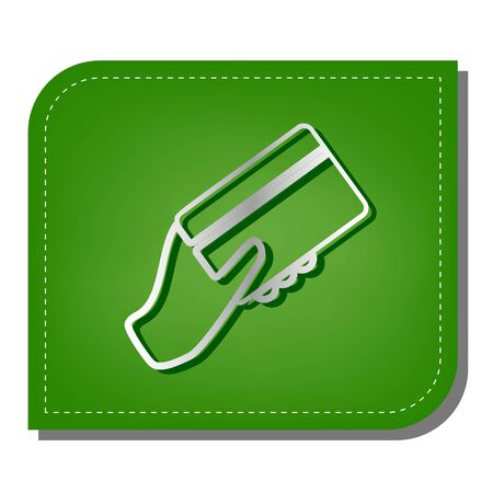 Hand holding a credit card. Silver gradient line icon with dark green shadow at ecological patched green leaf. Illusztráció