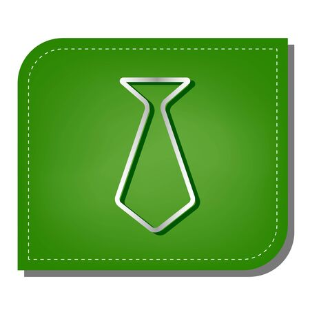 Tie glyph sign. Silver gradient line icon with dark green shadow at ecological patched green leaf.