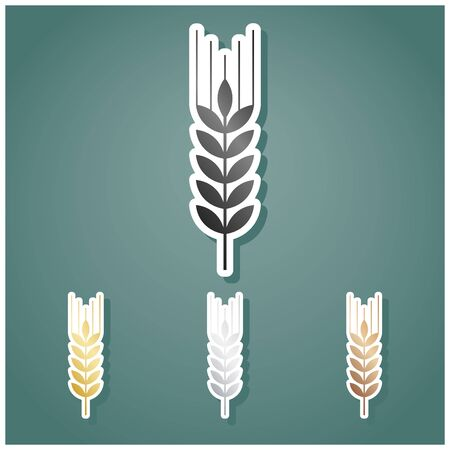 Wheat sign illustration. Spike. Spica. Set of metallic Icons with gray, gold, silver and bronze gradient with white contour and shadow at viridan background.
