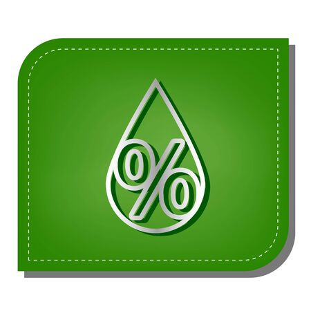 Thin line percent down sign. Silver gradient line icon with dark green shadow at ecological patched green leaf. 向量圖像
