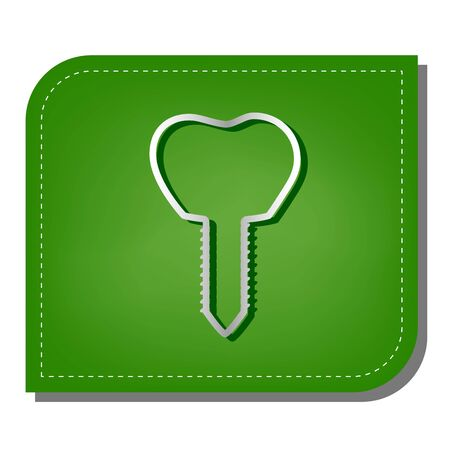 Tooth implant sign illustration. Silver gradient line icon with dark green shadow at ecological patched green leaf.
