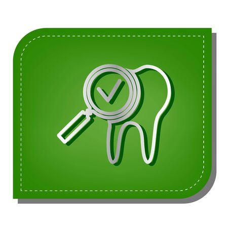 Tooth icon with arrow sign. Silver gradient line icon with dark green shadow at ecological patched green leaf.