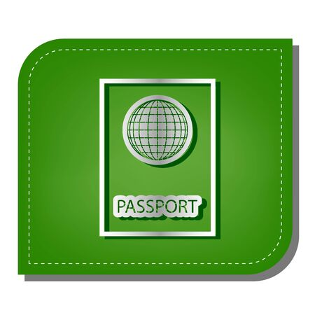 Passport sign illustration. Silver gradient line icon with dark green shadow at ecological patched green leaf.