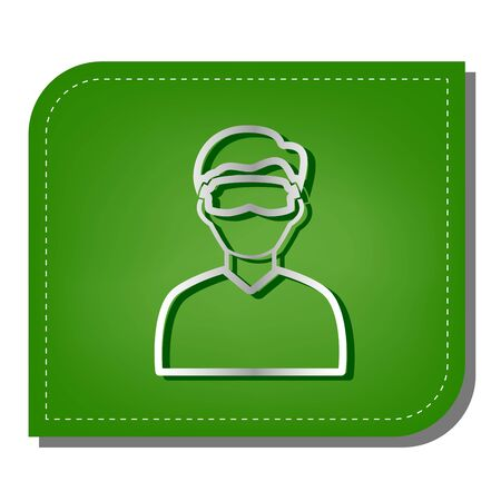 Man with sleeping mask sign. Silver gradient line icon with dark green shadow at ecological patched green leaf. 向量圖像