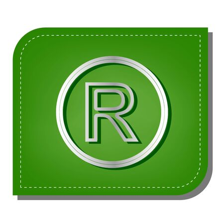 Registered Trademark sign. Silver gradient line icon with dark green shadow at ecological patched green leaf.