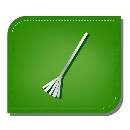 Sweeping broom sign. Silver gradient line icon with dark green shadow at ecological patched green leaf.