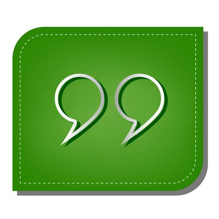 Quotation Mark Symbol. Silver gradient line icon with dark green shadow at ecological patched green leaf. 向量圖像