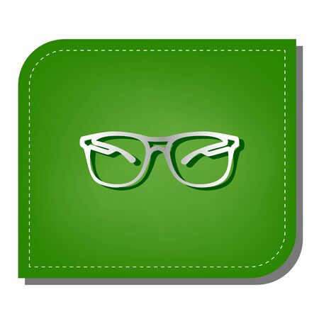 Sunglasses sign illustration. Silver gradient line icon with dark green shadow at ecological patched green leaf.