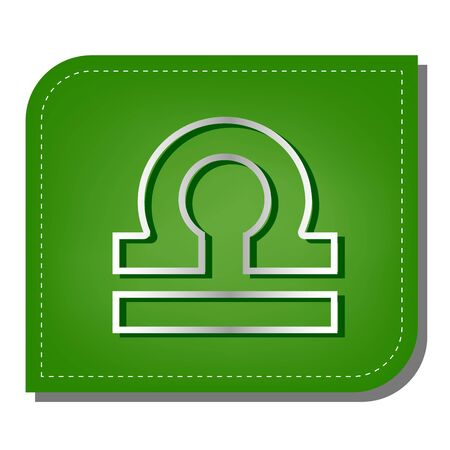 Libra sign illustration. Silver gradient line icon with dark green shadow at ecological patched green leaf.