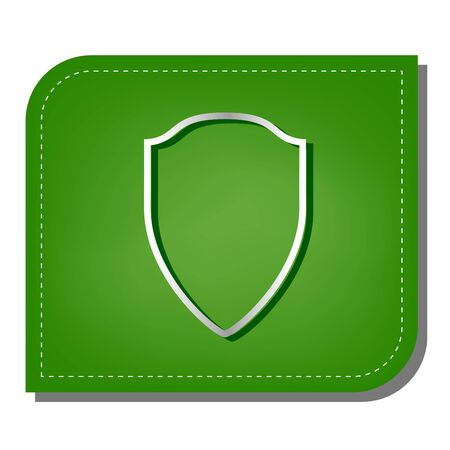 Shield sign illustration. Silver gradient line icon with dark green shadow at ecological patched green leaf.