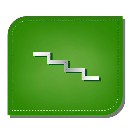 Stair down sign. Silver gradient line icon with dark green shadow at ecological patched green leaf. 일러스트