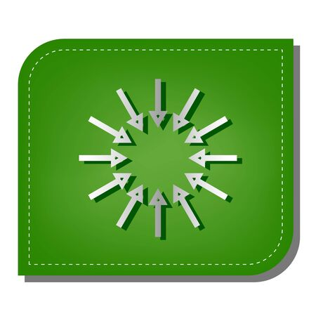Arrows sign. Silver gradient line icon with dark green shadow at ecological patched green leaf.