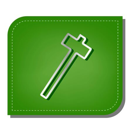 Hammer sign illustration. Silver gradient line icon with dark green shadow at ecological patched green leaf.