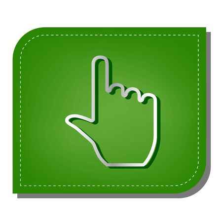 Click hand sign. Silver gradient line icon with dark green shadow at ecological patched green leaf.