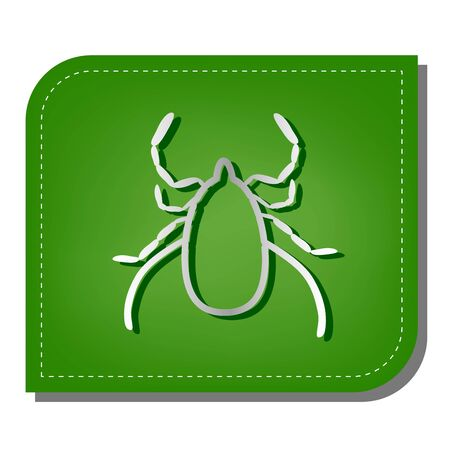 Dust mite sign illustration. Silver gradient line icon with dark green shadow at ecological patched green leaf. Vettoriali