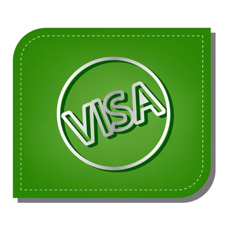 Visa card sign illustration. Silver gradient line icon with dark green shadow at ecological patched green leaf. Vectores