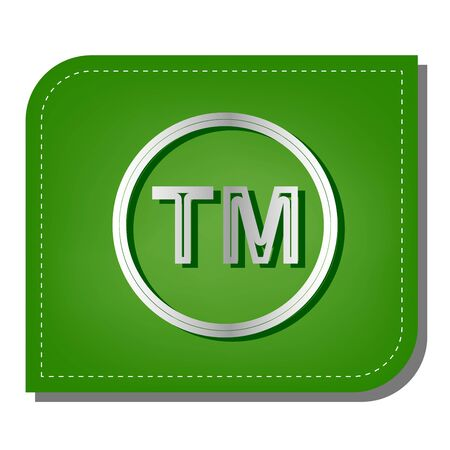 Trade mark sign. Silver gradient line icon with dark green shadow at ecological patched green leaf.