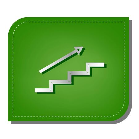 Stair with arrow. Silver gradient line icon with dark green shadow at ecological patched green leaf.