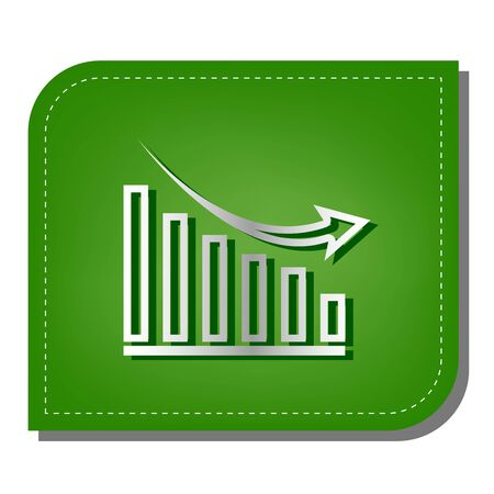 Declining graph sign. Silver gradient line icon with dark green shadow at ecological patched green leaf.